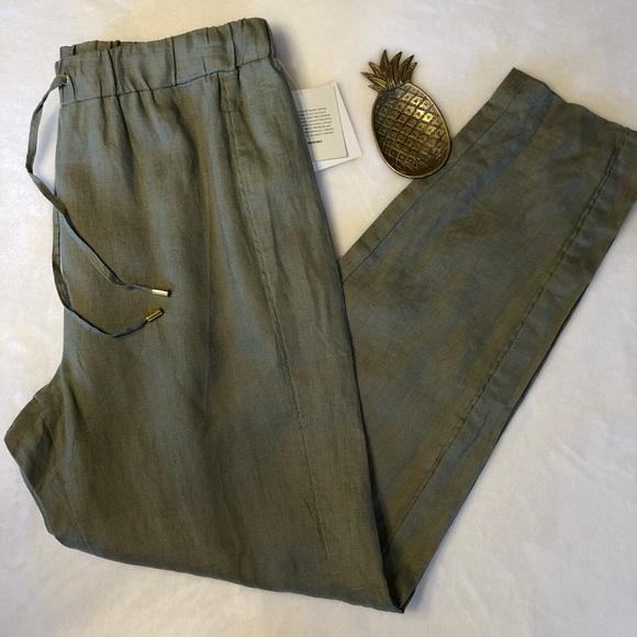 c9cce5ee15133 Ellen Tracy Pants | Olive Linen Drawstring Casual | Poshmark